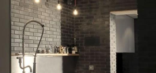 szara cegla w kuchni