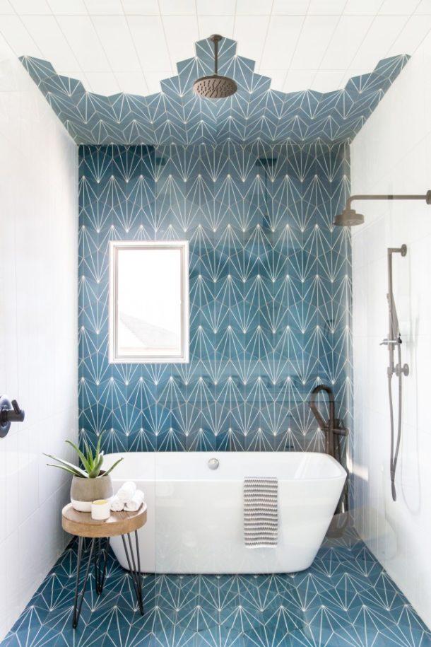 Imponująca Biało Niebieska łazienka ładne Rzeczy