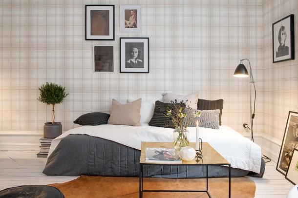 sypialnia z tapeta