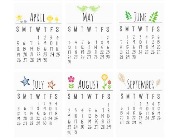 kalendarz na biurko do wydrukowania