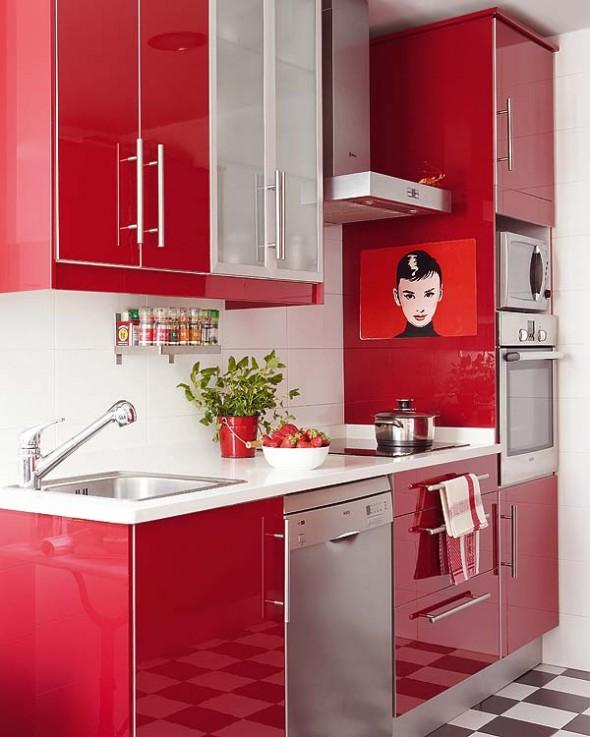 Wnętrze dnia czerwona kuchnia z Audrey  Ładne rzeczy!