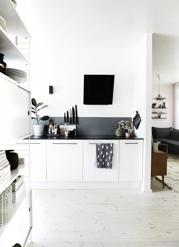 kuchnia bialo-czarna