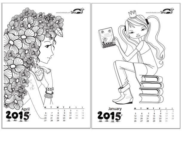 kalendarz do kolorowania