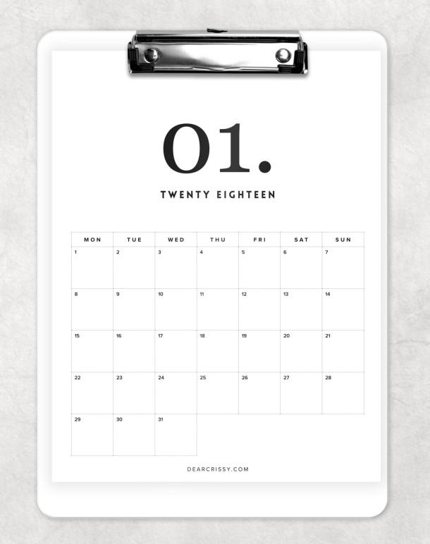 kalendarz 2018 do wydrukowania