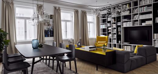 żółty kolor w salonie